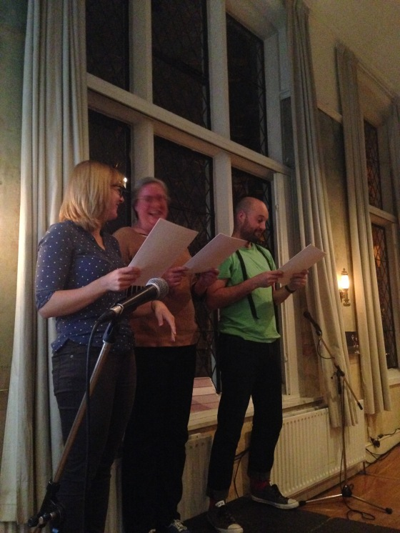 Hannah Nicklin, Johanna Linsley and Greg McLaren reading