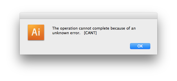 Error message: can't